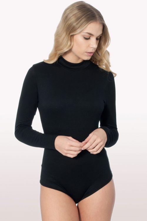 Black Polo Neck Bodysuit