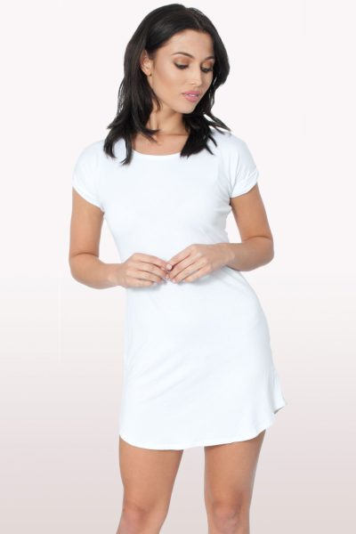 White Bodycon Curved Hem Dress