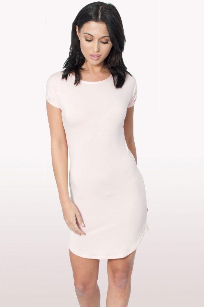 baby pink Bodycon Curved Hem Dress