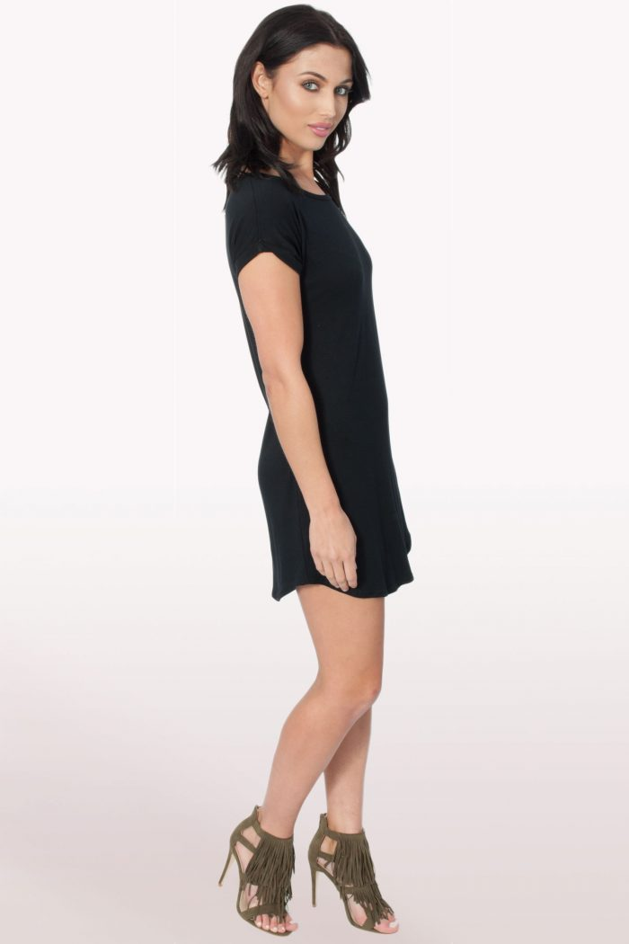 Black Bodycon Curved Hem Dress