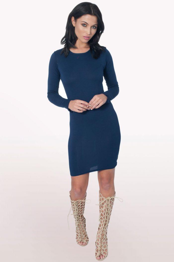 Navy Long Sleeve Bodycon Dress