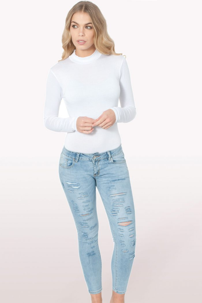 White Polo Neck Bodysuit
