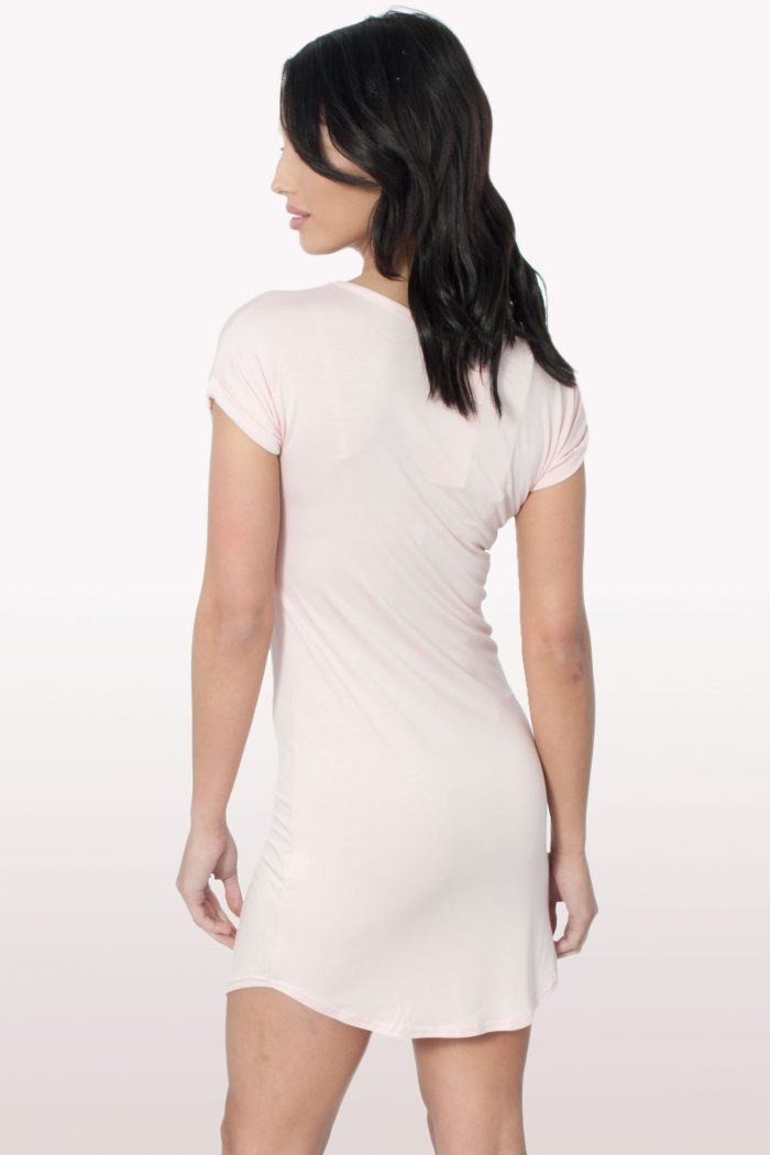 Peach Bodycon Curved Hem Dress