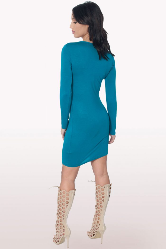 Teal Long Sleeve Bodycon Dress