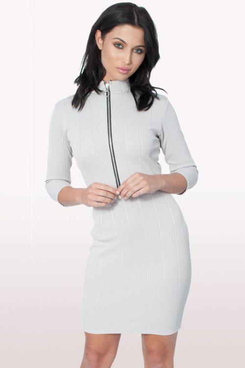 Grey Front Zip Bodycon Dress