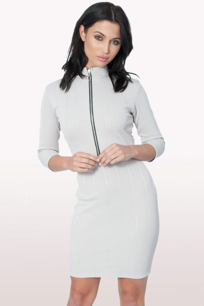 Grey Front Zip Bodycon Dress