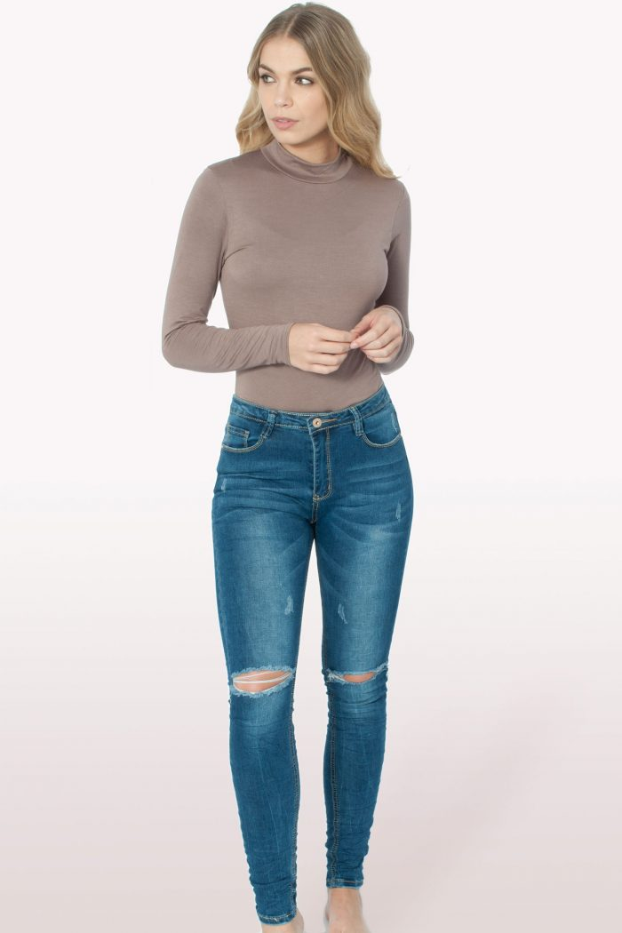 Mocha Polo Neck Bodysuit