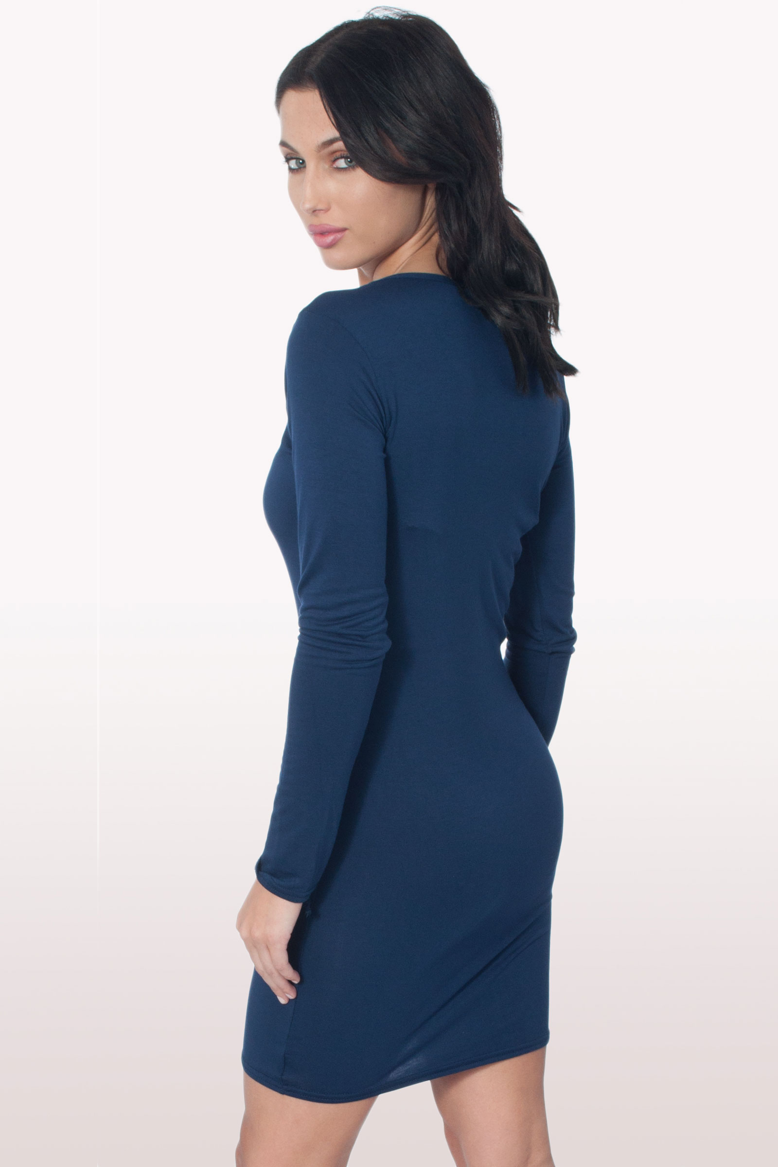 Girls navy long sleeve bodycon dress sizes online online