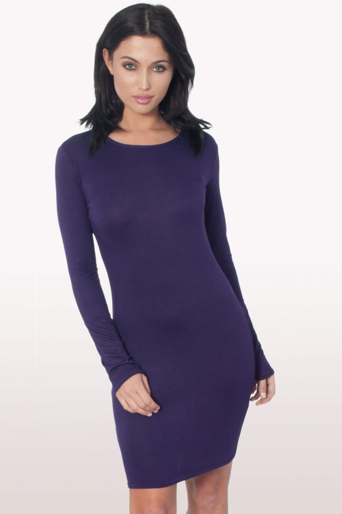 Purple Long Sleeve Bodycon Dress