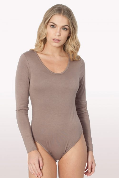 Mocha Scoop Neck Bodysuit
