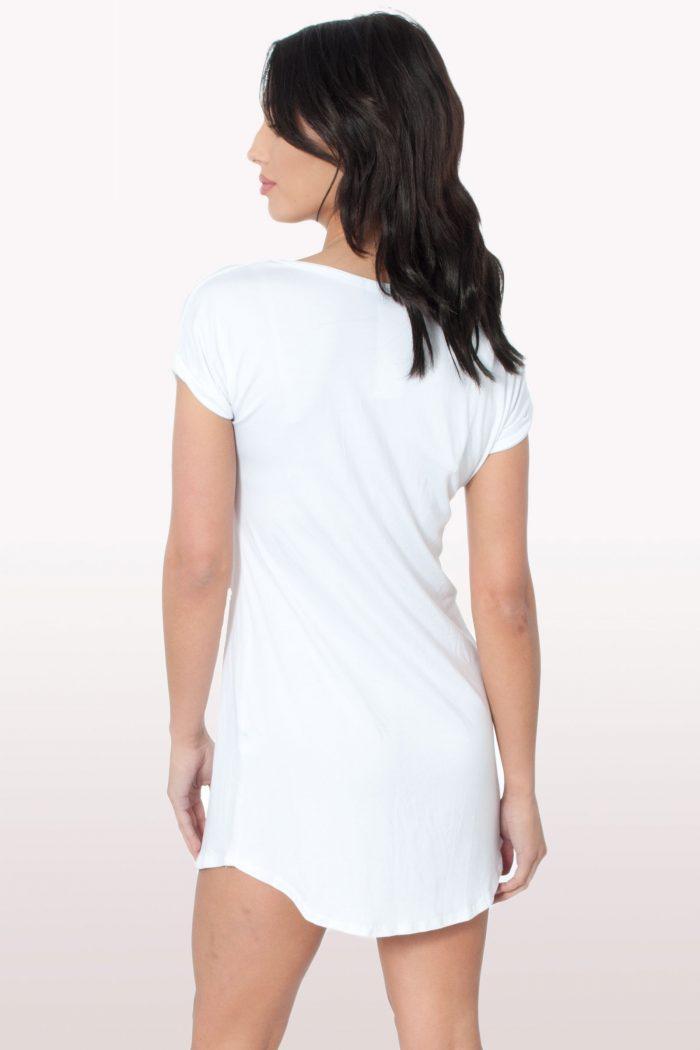 White Bodycon Curved Hem Dress