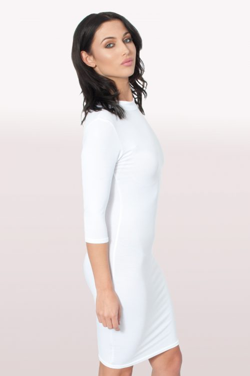 White Polo Neck Bodycon Dress