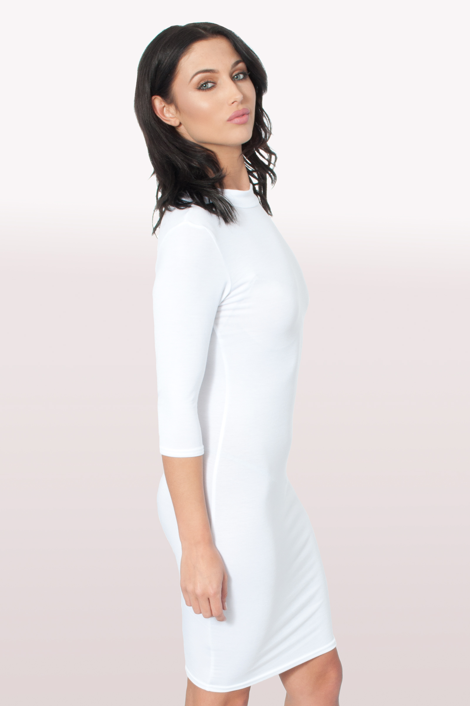 31e36849878e White Polo Neck Bodycon Dress