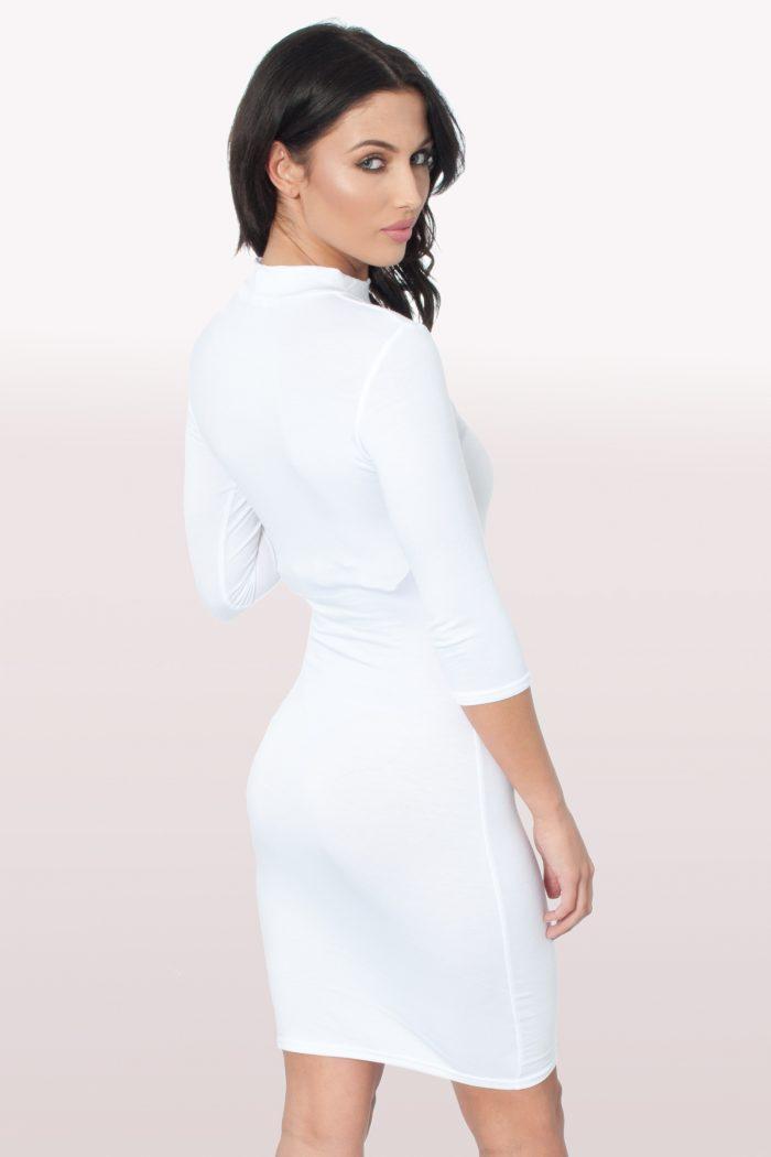 White Polo Neck Bodycon Dress