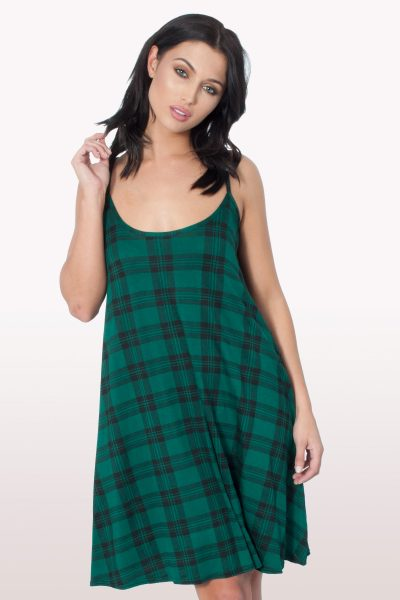 Green Tartan Print Cami Dress