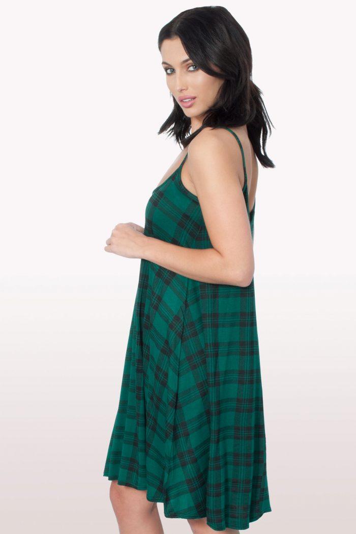 Green Tartan Print Cami Dress