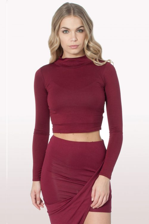 Wine Polo Neck Crop Top