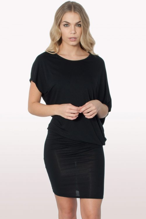Black Draped Batwing Bodycon Dress