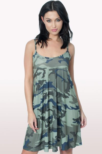 Camo Print Cami Swing Dress