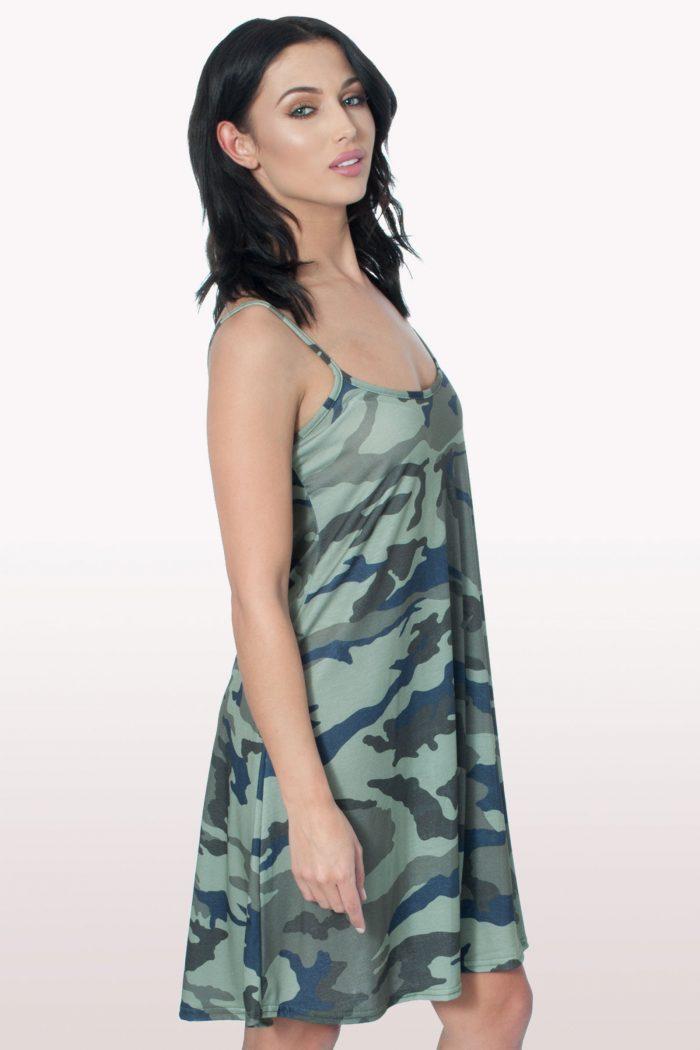 Camo Print Cami Swing Dress