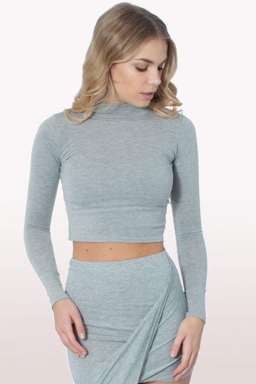 Grey Polo Neck Crop Top
