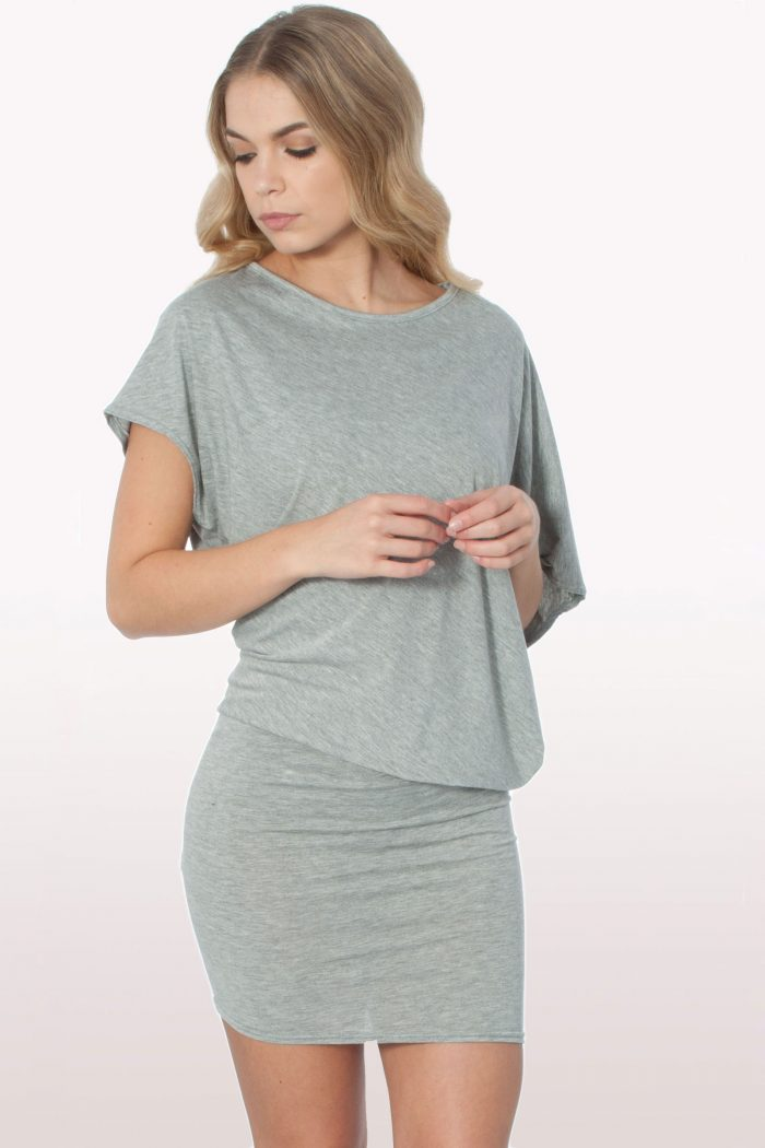 Grey Draped Batwing Bodycon Dress
