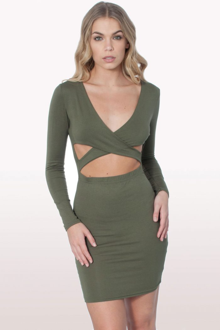 Khaki Cut Out Bodycon Dress