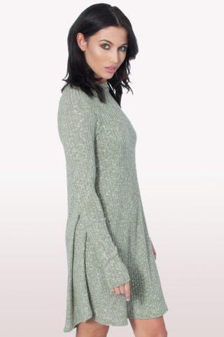 Khaki Ribbed Polo Neck Skater Dress