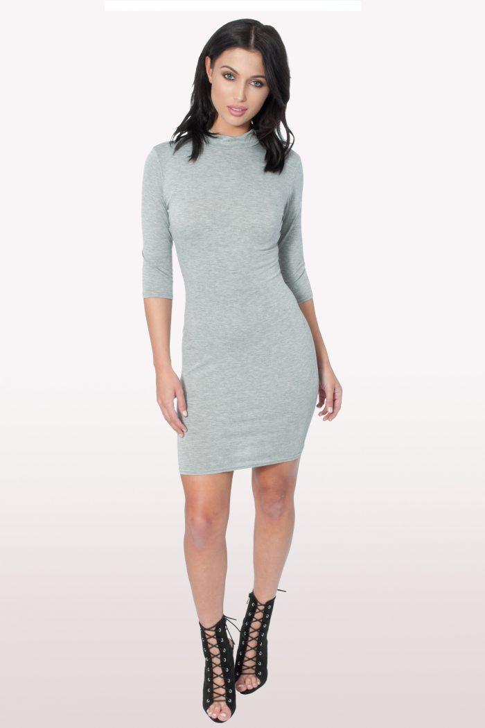 Grey Polo Neck Bodycon Dress