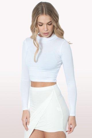 White Polo Neck Crop Top