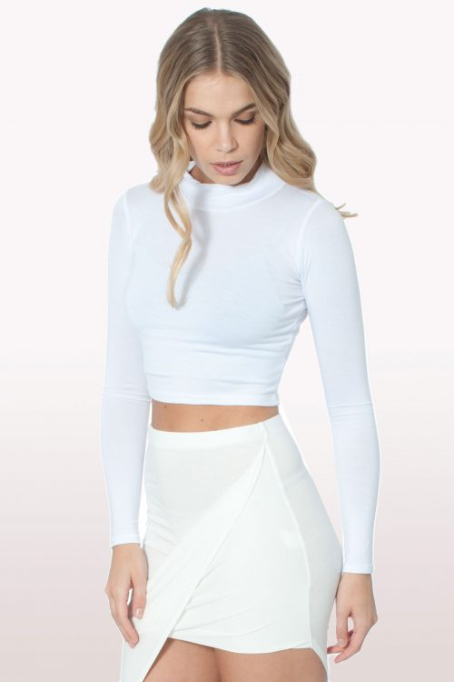 White Polo Neck Crop Top