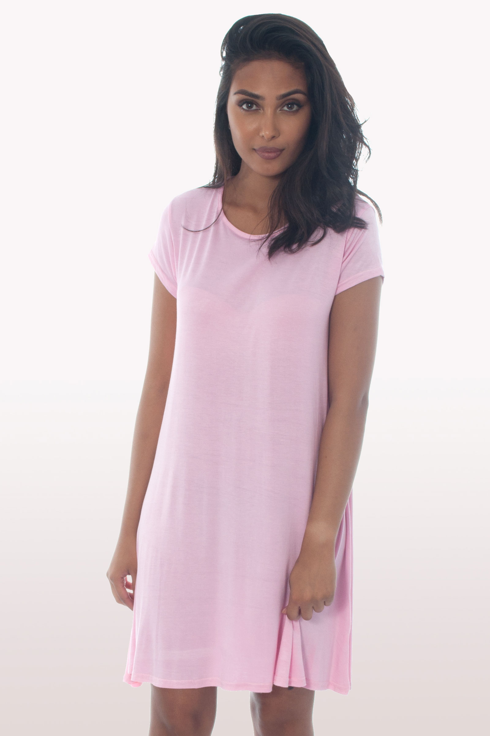 Baby Pink Short Sleeve Swing Dress Dresses