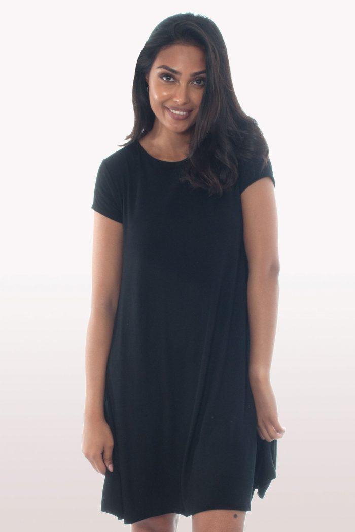 Black Short Sleeve Swing Dress