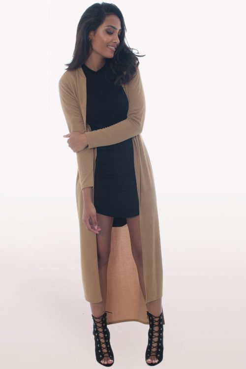 Camel Step Hem Duster Coat