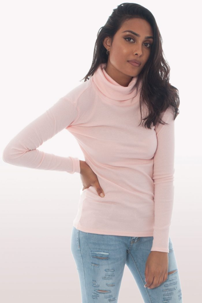 Baby Pink Ribbed Knit Polo Neck Jumper