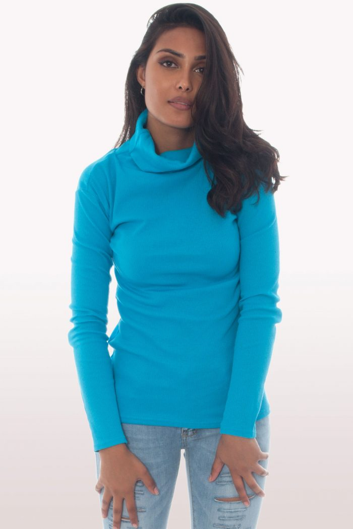 Turquoise Ribbed Polo Neck Knit Jumper