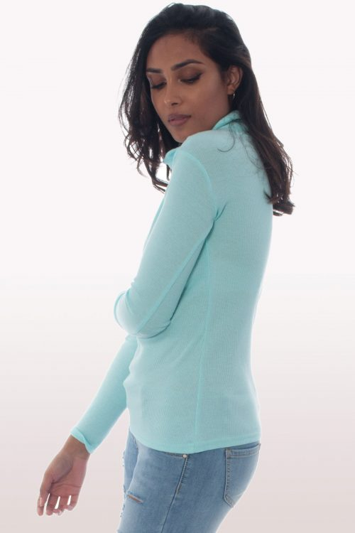 Aqua Mint Ribbed Knit Polo Neck Jumper