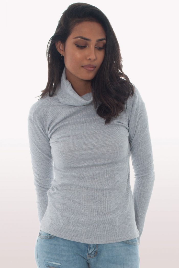 Light Grey Ribbed Knit Polo Neck Jumper