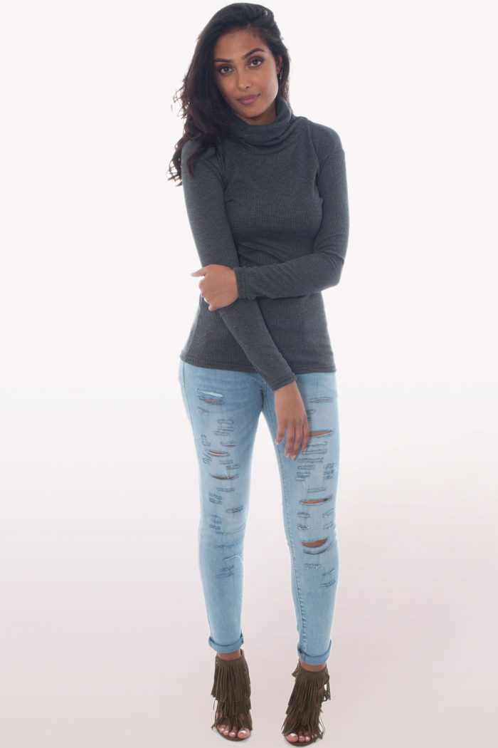 Charcoal Ribbed Knit Polo Neck Jumper