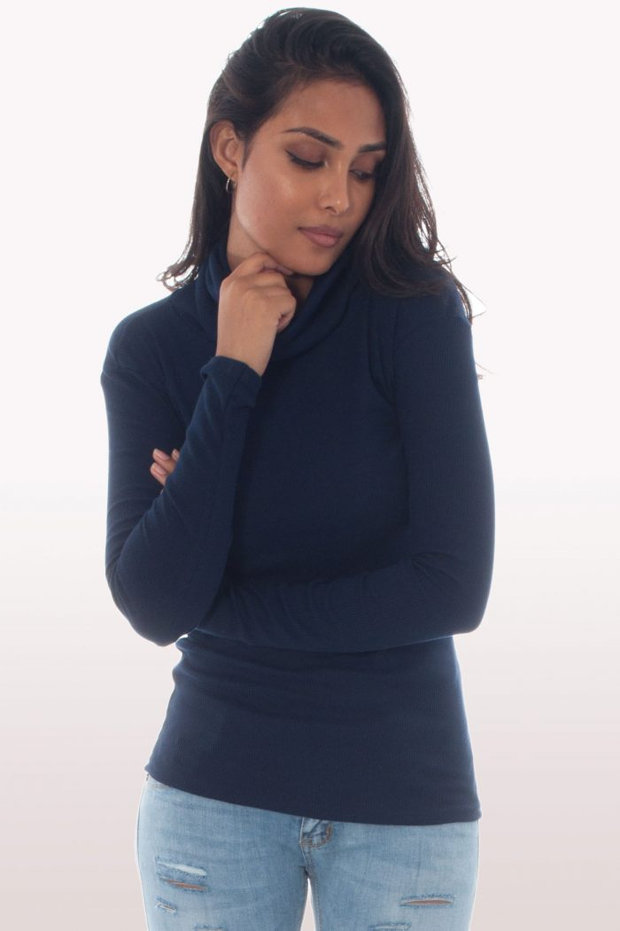 Navy Blue Ribbed Knit Polo Neck Jumper