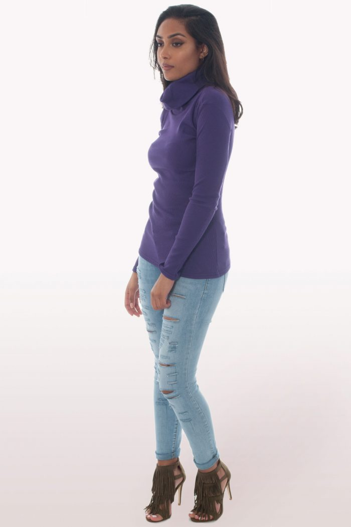 Purple Ribbed Polo Neck Knit Jumper