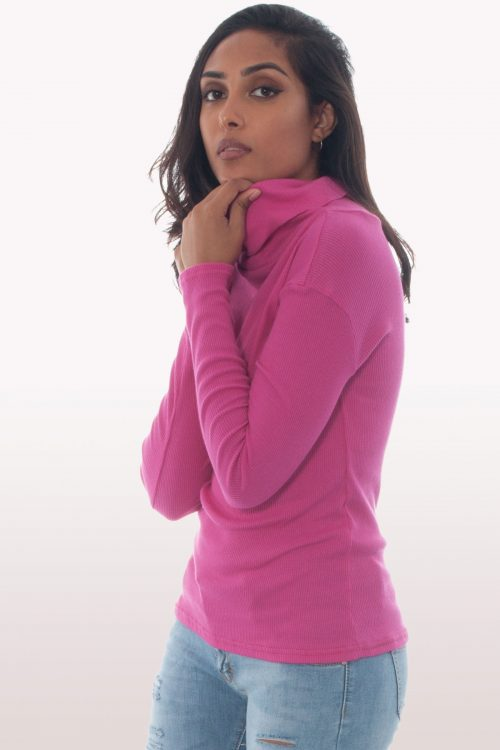 Hot Pink Ribbed Knit Polo Neck Jumper