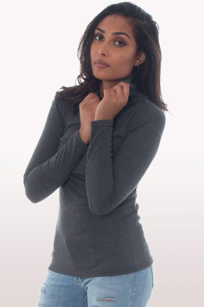 Ribbed Knit Polo Neck Jumper