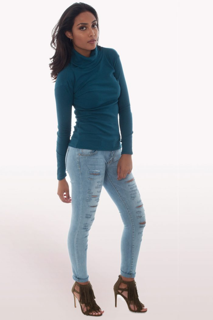 Teal Ribbed Polo Neck Knit Jumper