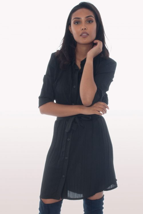 Black Ruffle Tie Belted Shirt Dress