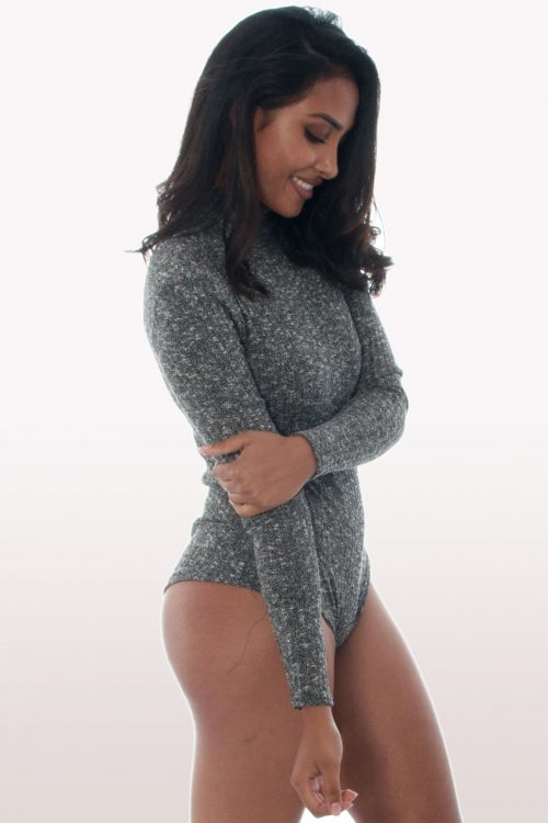 Charcoal Rib Knitted Polo Neck Bodysuit