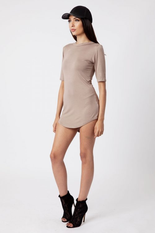 Mocha Polo Neck Dip Hem Bodycon Dress