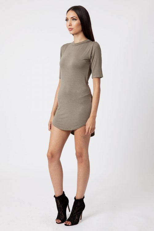 khaki polo neck dip hem bodycon dress