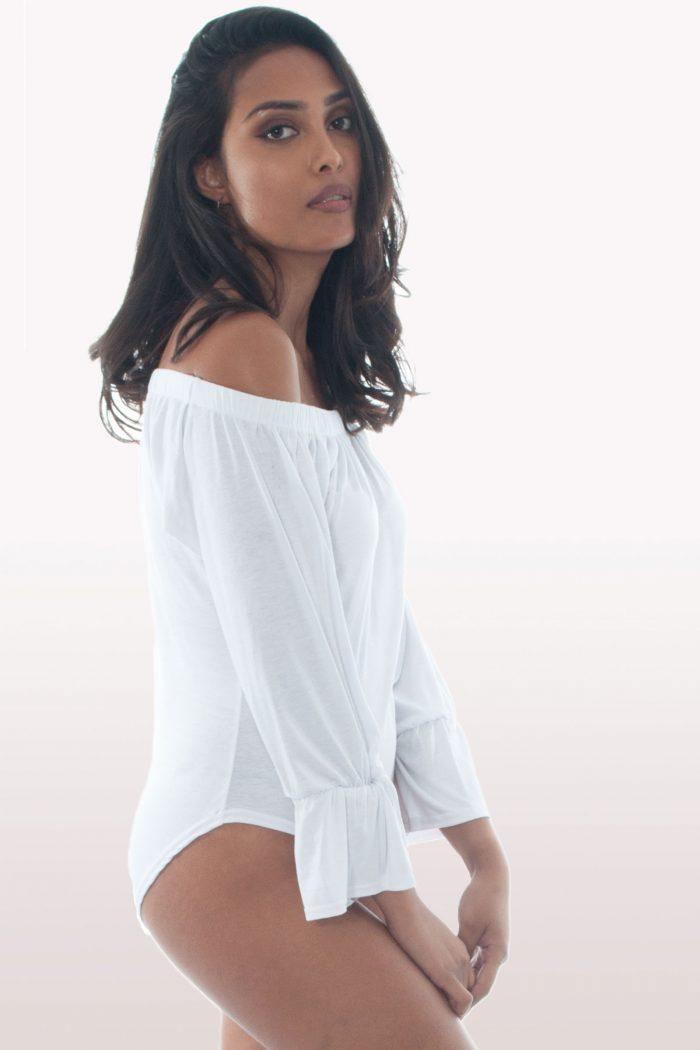 White Bardot Bell Sleeve Bodysuit