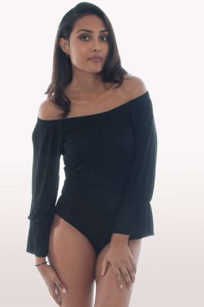 Black Bardot Bell Sleeve Bodysuit